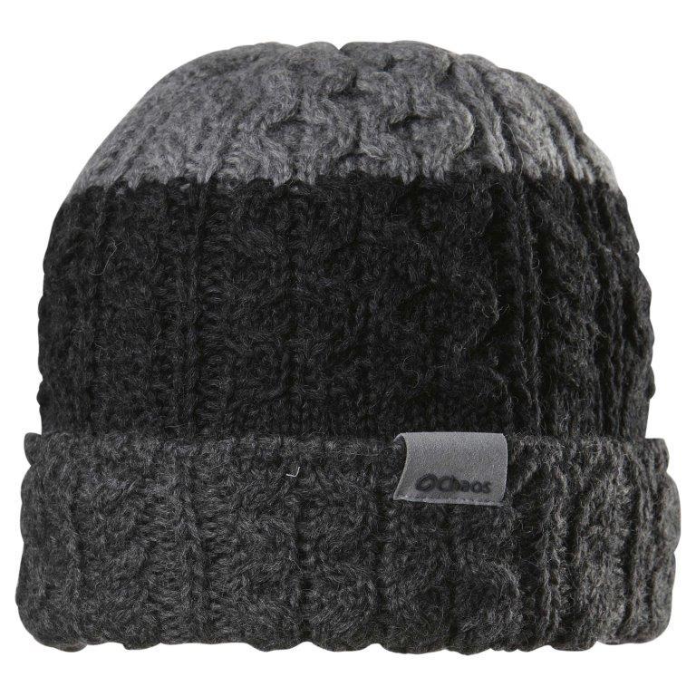 Chaos Balding Mütze warme Strickmütze mit Zopfmuster schwarz