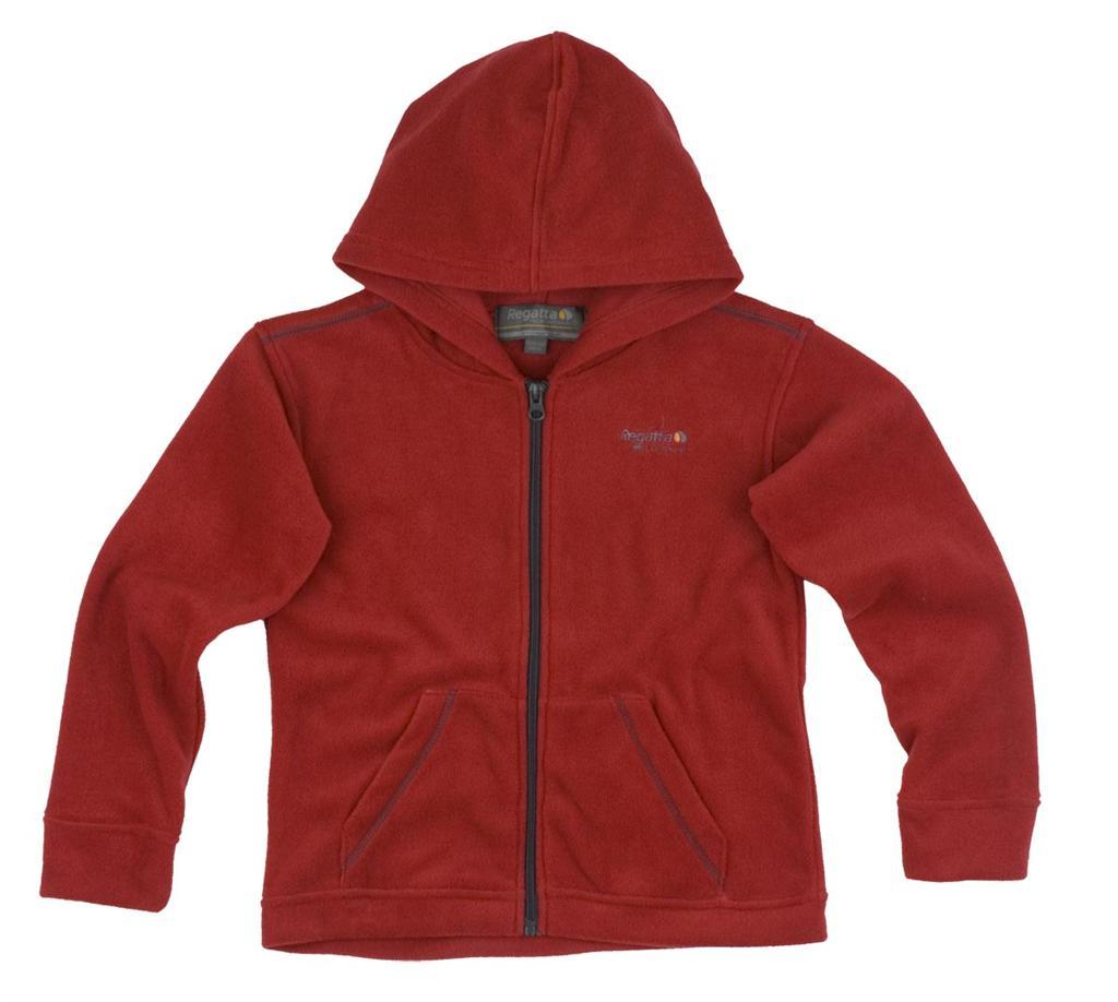 Regatta Kinder Fleece Jacke Charlie mit Kapuze rot