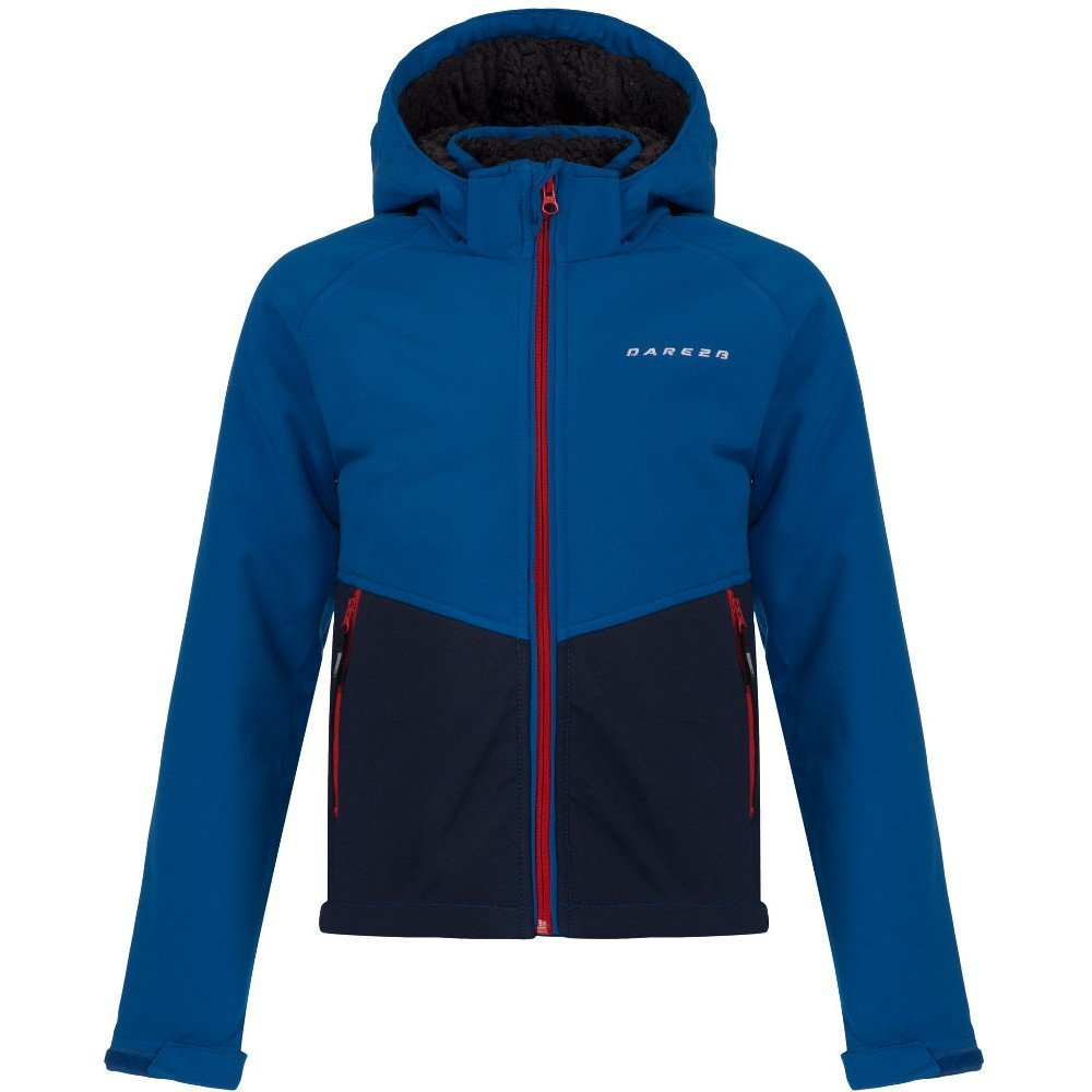 dare2b Outpour warme Kinder Softshelljacke mit Fellfutter blau